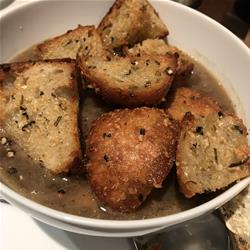 Onion and Mushroom Soup with Garlic Ciabatta Croutons